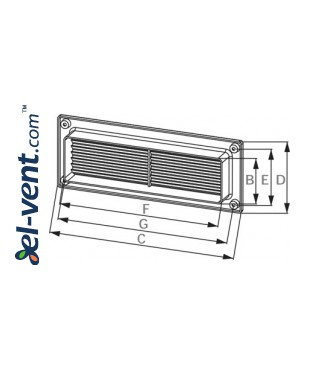 Vent cover EKO204-30, 60x204 mm - drawing