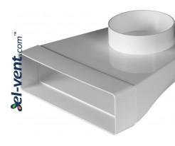 Elbow EKO204-23/100, Ø100 mm, 60x204 mm, 90°