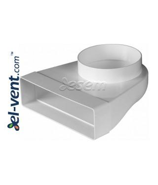 Plastikinė ortakio alkūnė EKO-P-204-23/125, Ø125x60x204 mm