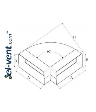 Horizontal elbow EKO204-24/90, 60x204 mm, 90° - drawing