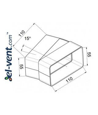 Колено горизонтальное EKO55-24/15, 55x110 мм, 15° - чертеж