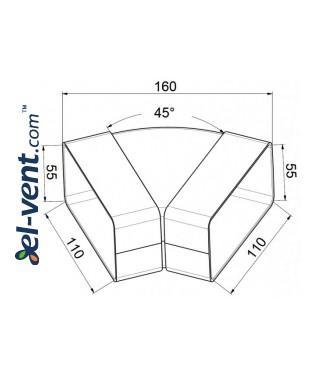 Horizontal elbow EKO55-24/45, 55x110 mm, 45° - drawing