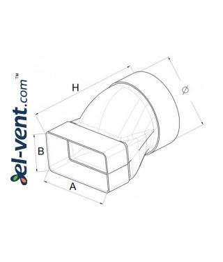 Reducer EKO120-20, Ø100x60x120 mm - drawing