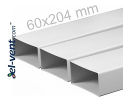 Plastic duct EKO204-10, 1.0 m, 60x204 mm