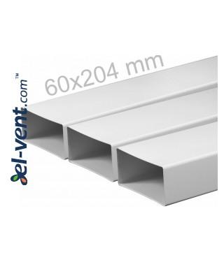 Plastic duct EKO204-10, 1.0 m, 60x204 mm