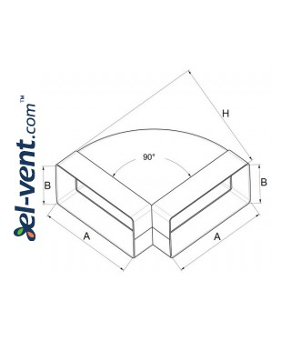 Horizontal elbow EKO120-24/90, 60x120 mm, 90° - drawing