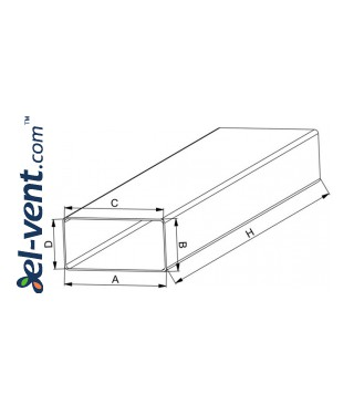 Plastic duct EKO204-10, 1.0 m, 60x204 mm - drawing