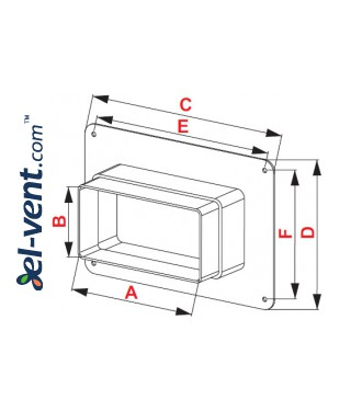 Wall duct adapter KPW, 60x120 mm - drawing