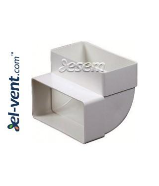 Vertical elbow for plastic duct EKO-P-55-25, 55x110 mm