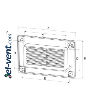 Ventilation grille EKO75-30BR, 75x150 mm - drawing