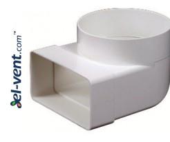 Elbow EKO120-23, Ø100 mm, 60x120 mm, 90°