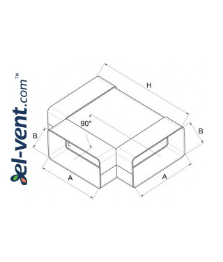 T-piece EKO120-26, 60x120 mm - drawing