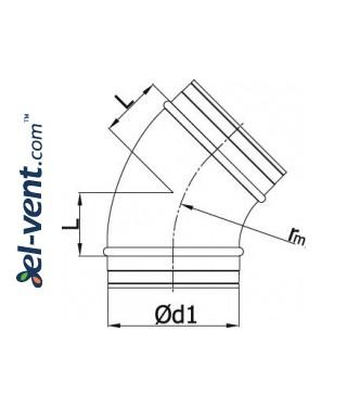 Elbow A100/45, Ø100 mm, 45° - drawing