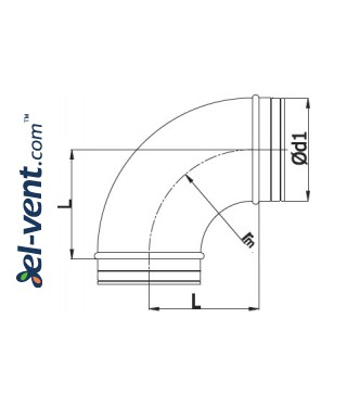 Elbow A160/90, Ø160 mm, 90° - drawing