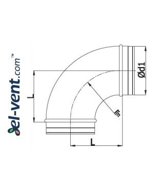 Elbow A100/90, Ø100 mm, 90° - drawing