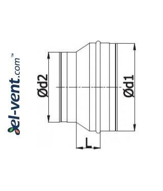 Pipe reducer ER150/100, Ø150-100 mm - drawing