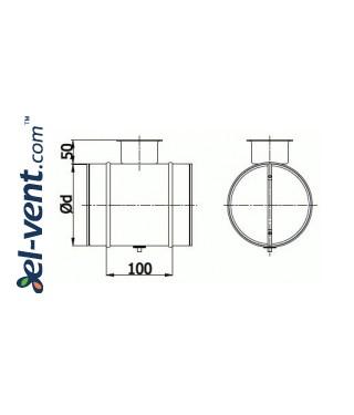 Air damper RSK100, Ø100 mm - drawing