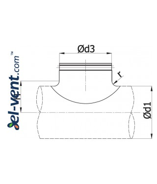 Pipe saddle tap EBAG250/125, Ø250-125 mm - drawing