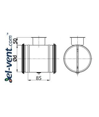 Air damper ERSKG250, Ø250 mm - drawing