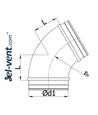 Elbow EAG160/60, Ø160 mm, 60° - drawing