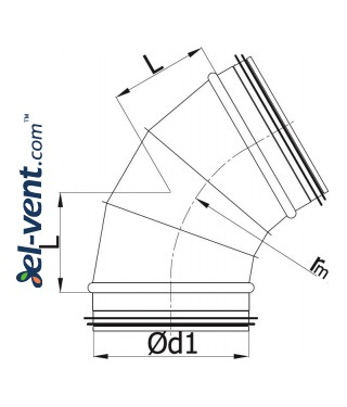 Elbow EAGS315/60, Ø315 mm, 60° - drawing