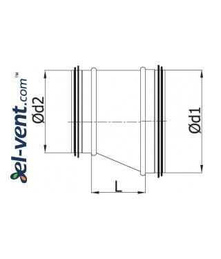 Asymmetric reducer EARG250/200, Ø250-200 mm - drawing