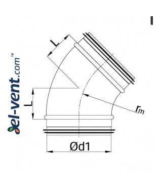 Elbow EAG160/45, Ø160 mm, 45° - drawing