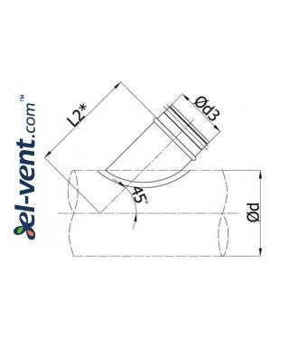 45° седловые отводы для воздуховодов BAG45 - чертеж