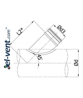 Pipe saddle tap EBAG45/250/250, Ø250 mm - drawing