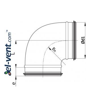 Elbow EAGT125/90, Ø125 mm, 90° - drawing