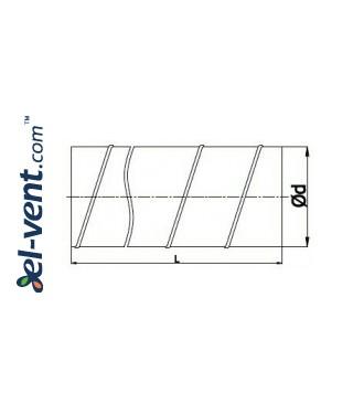 Spiral duct SKO100/1.5, Ø100 mm, L=1.5 m - drawing