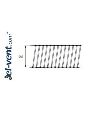 Aliuminio-poliesterio lankstus ortakis AFL100, Ø100 mm - brėžinys
