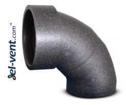 Expanded polypropylene 90° elbow with coupling EPP160/90, Ø160 mm