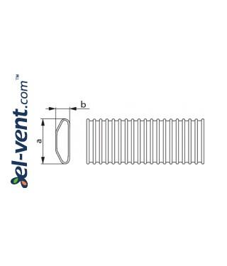 Гибкий воздуховод HDPE132/52, 20 м рулон - чертеж
