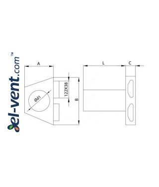 Присоединительные коробки диффузоров для 132x52 мм воздуховодов OSPB2 чертеж