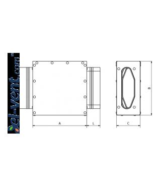 HDPE ortakių asimetrinė mova MOA132/52 132x52 mm - brėžinys