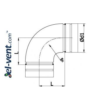 Elbow A75/90, Ø75 mm, 90° - drawing