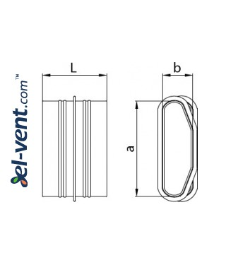 Asymmetric coupling for HDPE ducts MO132/52 132x52 mm - drawing