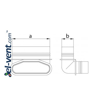 Vertical elbow for HDPE ducts MOV90/132/52 132x52 mm - drawing