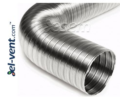 Stainless steel flexible duct NF100/1, L=1 m, Tmax=500 °C, Ø100 mm