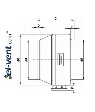 Išcentriniai kanaliniai ventiliatoriai DV ≤1450 m³/h - brėžinys