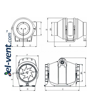 Duct fan DVPP160, Ø160 mm - drawing