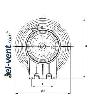 Quiet duct fan Silent150/160, Ø150-160 mm 2 drawing