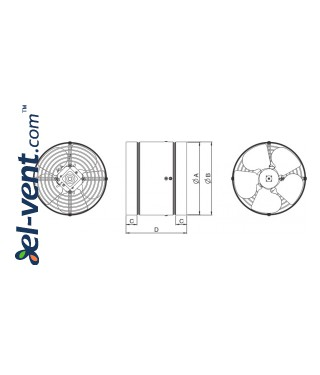 Axial duct fans WK ≤915 m³/h - drawing