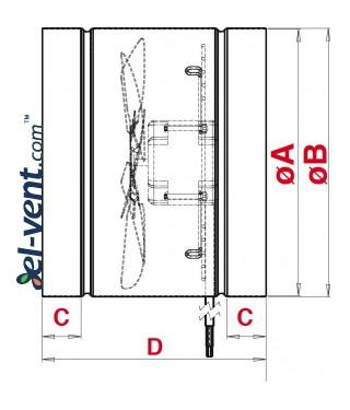 Duct fan WK200, Ø210 mm - drawing