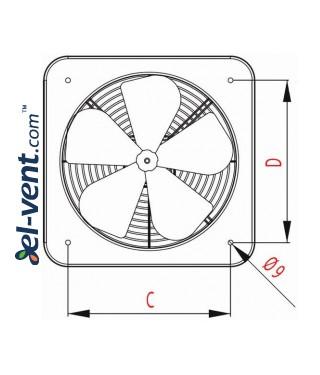 Axial fan WOC320, Ø320 mm - drawing 2