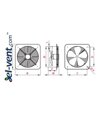 Axial fans WOC ≤1520 m³/h - drawing