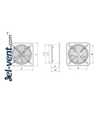 Axial fan WO200, Ø200 mm - drawing