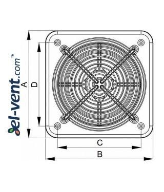Axial fan WO200, Ø200 mm - drawing