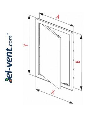 Access panel, oak colour EDT13D, 200x250 mm - drawing
